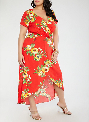 Plus Size Floral Wrap Dress,RED,large