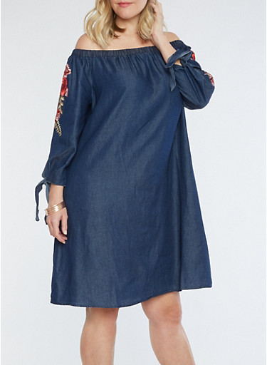 Plus Size Off the Shoulder Embroidered Chambray Dress,DENIM,large