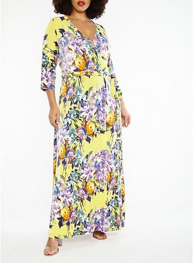 Plus Size Faux Wrap Floral Maxi Dress,YELLOW,large