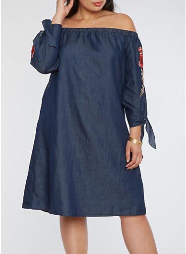 Plus Size Off the Shoulder Denim Shift Dress,DENIM,large