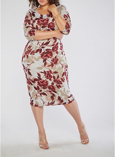 Plus Size Floral Soft Knit Dress,GRAY/BURGUNDY,large