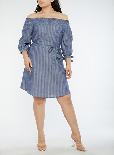 Plus Size Off the Shoulder Striped Dress,INDIGO,large