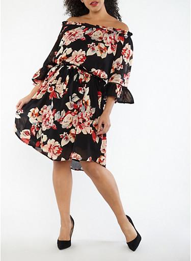 Plus Size Floral Off the Shoulder Belted Shift Dress,BLACK,large