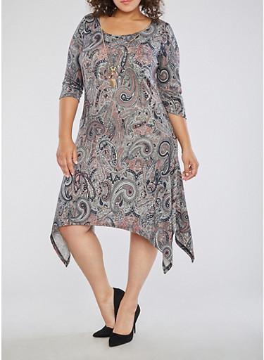 Plus Size Paisley Dress with Necklace,GRAY/MAUVE,large