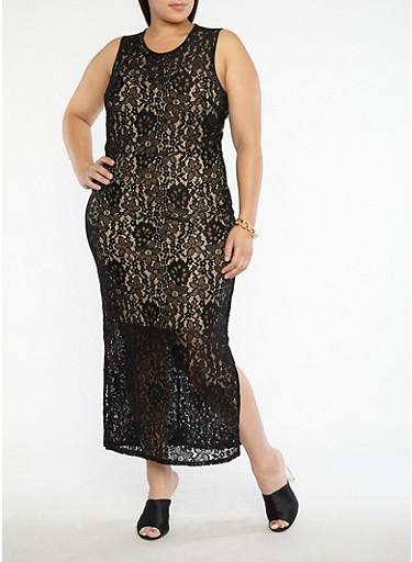 Plus Size Metallic Print Mesh Back Bodycon Dress,BLACK/NUDE,large