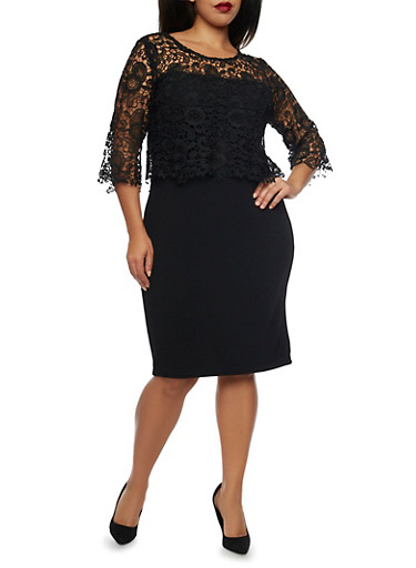Plus Size Knit Dress with Lace Overlay,BLACK,large