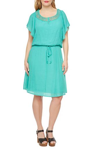 Plus Size Flutter Sleeve Dress with Crochet Trim,MINT,large