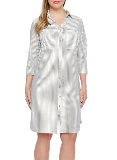 Plus Size Striped Shirt Dress,IVORY/BLACK,large
