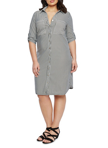 Plus Size Striped Shirt Dress,BLACK/WHITE,large