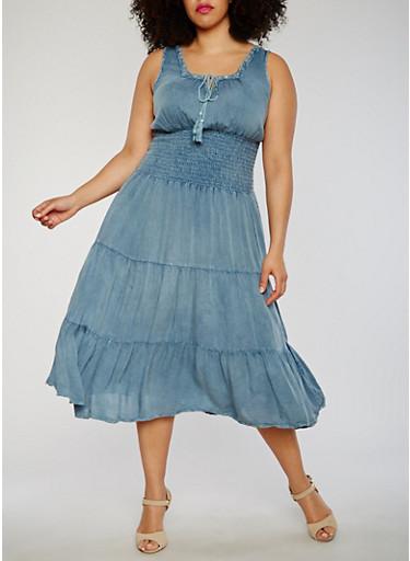Plus Size Smocked Waist Dress with Neckline Detail,ACID WASH,large