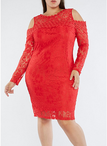 Plus Size Lace Cold Shoulder Dress,RED,large