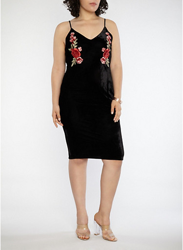 Plus Size Floral Applique Velvet Dress,BLACK,large