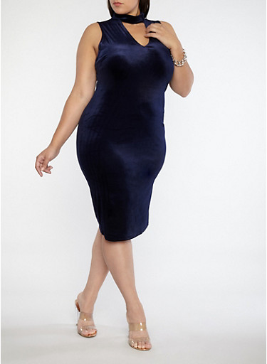 Plus Size Velvet Choker Neck Midi Dress,NAVY,large