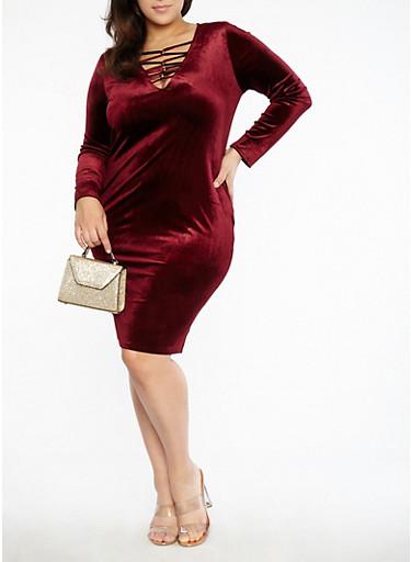 Plus Size Velvet Metallic Caged Neck Dress,BURGUNDY,large