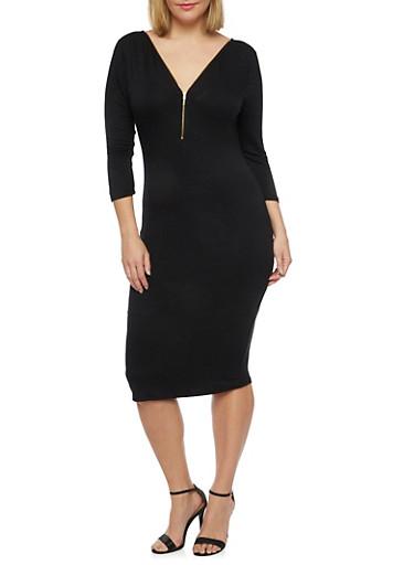 Plus Size 3/4 Sleeve Midi Dress with Zip Neck,BLACK,large