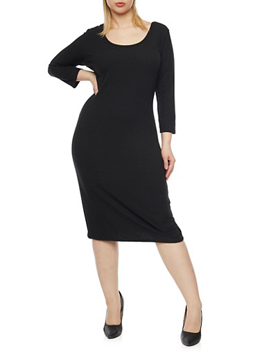 Plus Size Rib Knit Scoop Neck  Dress,BLACK,large