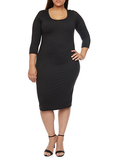 Plus Size Bodycon Midi Dress,BLACK,large