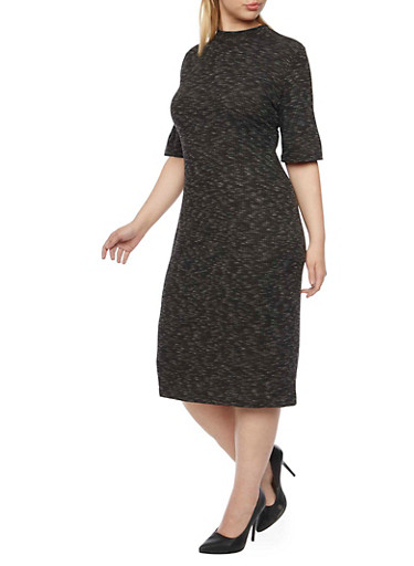 Plus Size Rib Knit Mock Neck Midi Dress,BLACK,large