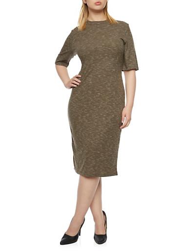 Plus Size Rib Knit Mock Neck Midi Dress,OLIVE,large