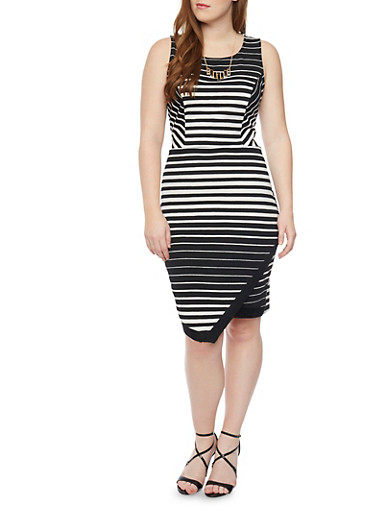 Plus Size Striped Dress with Faux Wrap Skirt and Necklace,BLACK/WHITE,large