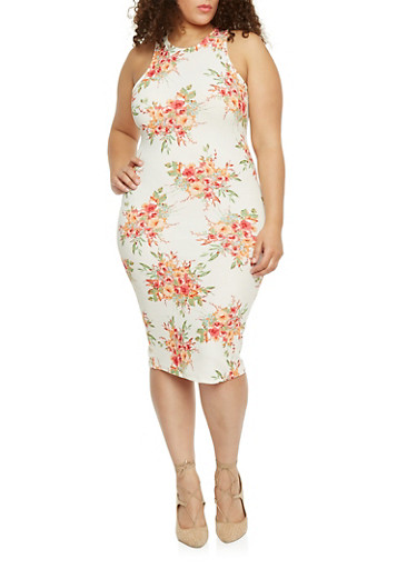 Plus Size Sleeveless Floral Dress,IVORY,large