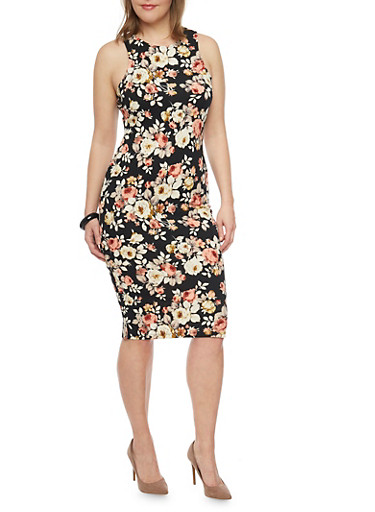 Plus Size Sleeveless Floral Print Midi Dress,BLACK,large
