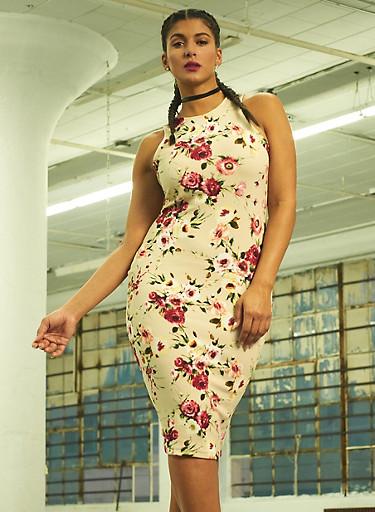 Plus Size Sleeveless Floral Bodycon Dress,KHAKI,large
