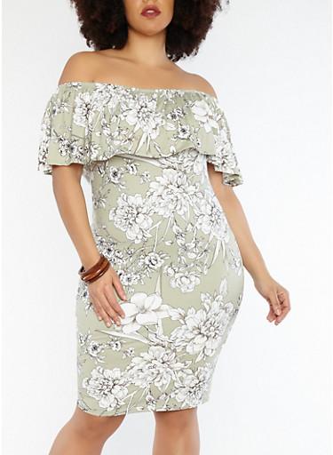 Plus Size Soft Knit Off the Shoulder Floral Dress,SAGE,large