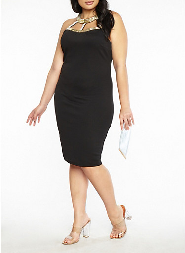 Plus Size Jewel Neck Bodycon Dress,BLACK,large
