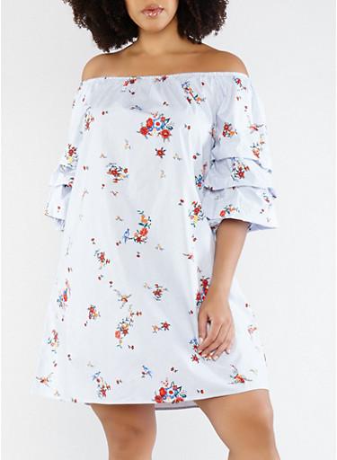 Plus Size Off the Shoulder Striped Dress,BLACK,large