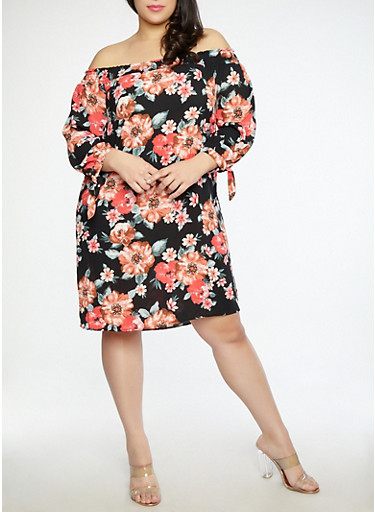 Plus Size Floral Off the Shoulder Dress,BLACK,large