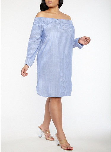 Plus Size Striped Off the Shoulder Dress,FRENCH BLUE,large