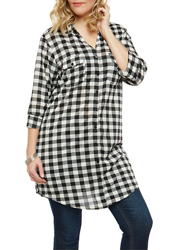 Plus Size Plaid Button Front Tunic,BLACK/WHITE,large