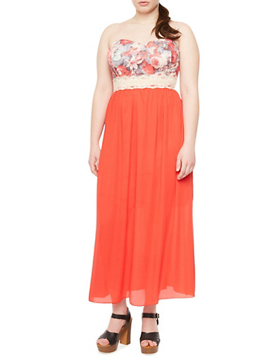 Plus Size Strapless Maxi Dress with Floral Print Bodice and Lace Trim,CORAL,large