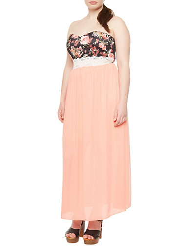 Plus Size Strapless Maxi Dress with Floral Print Bodice and Lace Trim,BLACK/PEACH,large