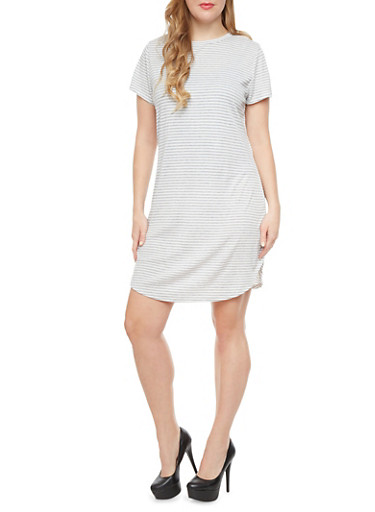 Plus Size Striped Rib Knit Shirtdress With Short Sleeves,GRAY,large