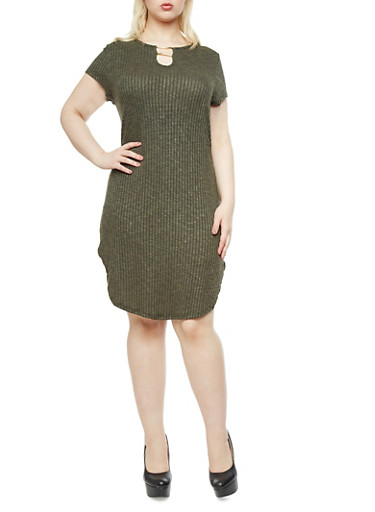 Plus Size Marled Rib Knit Dress with Split Neck And Gold Metallic Bars,OLIVE,large