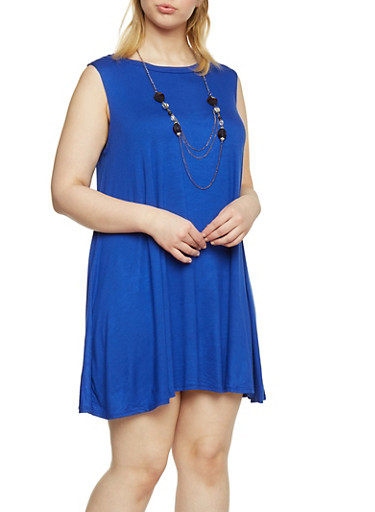 Plus Size Sleeveless Trapeze Dress with Attached Necklace,RYL BLUE,large