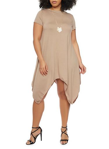 Plus Size Sharkbite Hem T Shirt Dress with Tribal Necklace,MOCHA,large