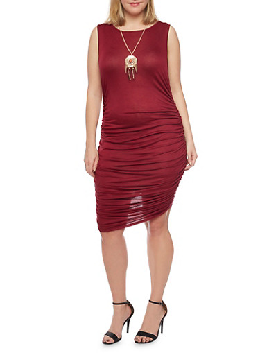 Plus Size Sleeveless Bodycon Dress with Ruched Skirt,BURGUNDY,large