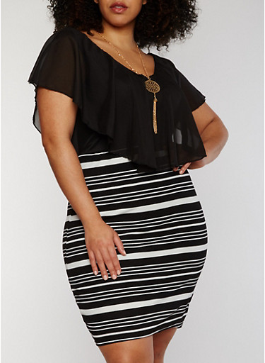 Plus Size Striped Bodycon Dress with Chiffon Overlay and Necklace,BLACK,large