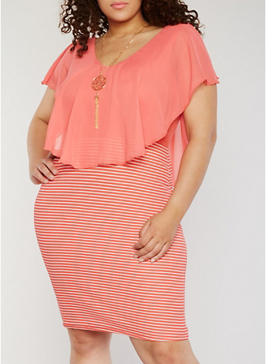 Plus Size Striped Bodycon Dress with Chiffon Overlay and Necklace,CORAL,large