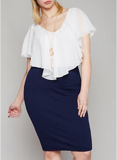 Plus Size Ruffled Chiffon Midi Dress with Necklace,WHITE-NAVY,large
