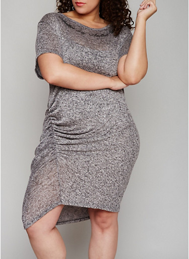 Plus Size Graphic Marled Dress with Ruching,GRAY-BLACK,large
