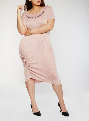 Plus Size Graphic Marled Dress with Ruching,MAUVE-BLACK,large