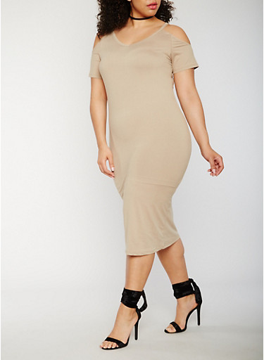 Plus Size Soft Knit Short Sleeve Cold Shoulder Midi Dress,KHAKI,large