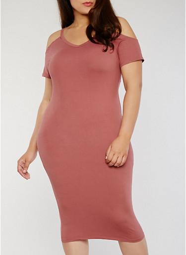 Plus Size Soft Knit Short Sleeve Cold Shoulder Midi Dress,MAUVE,large