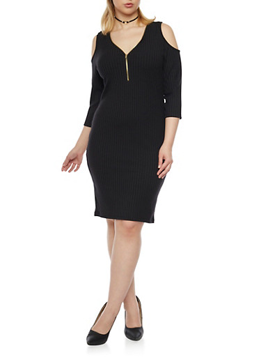 Plus Size Cold Shoulder Rib Knit Dress with Zip Neck,BLACK,large