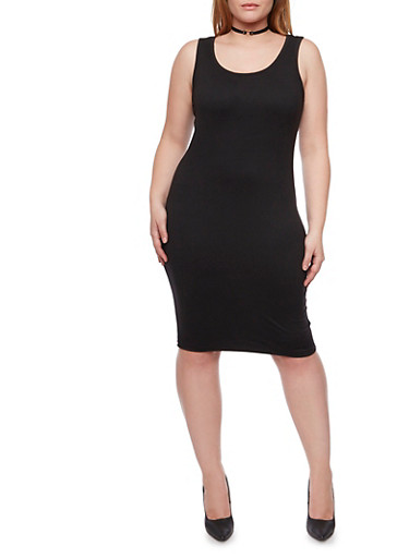 Plus Size Midi Tank Dress,BLACK,large