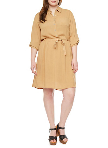 Plus Size Belted Shirt Dress,TAN,large